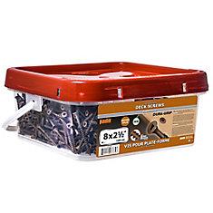 #8 x 2-1/2-inch Square Drive Flat Head Deck Screw UNC in Brown - 1200pcs