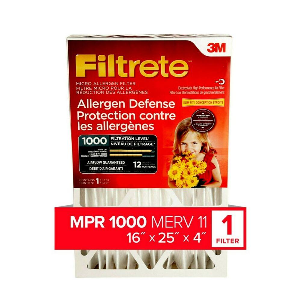 Filtre à plis profonds pour la réduction des allergènes FiltreteMC, DP01DC-4-C, 16x25x4