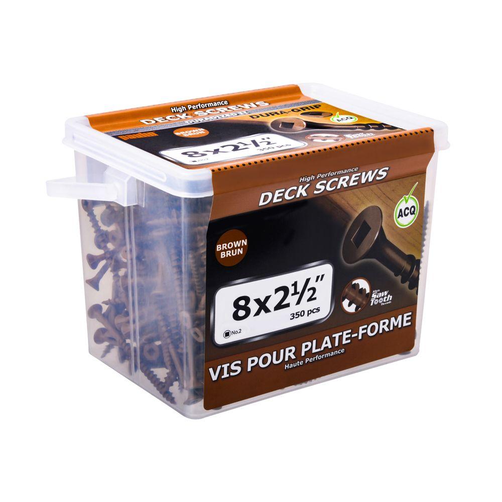 Paulin #8 x 2-1/2-inch Square Drive Flat Head Deck Screw UNC in Brown - 350pcs