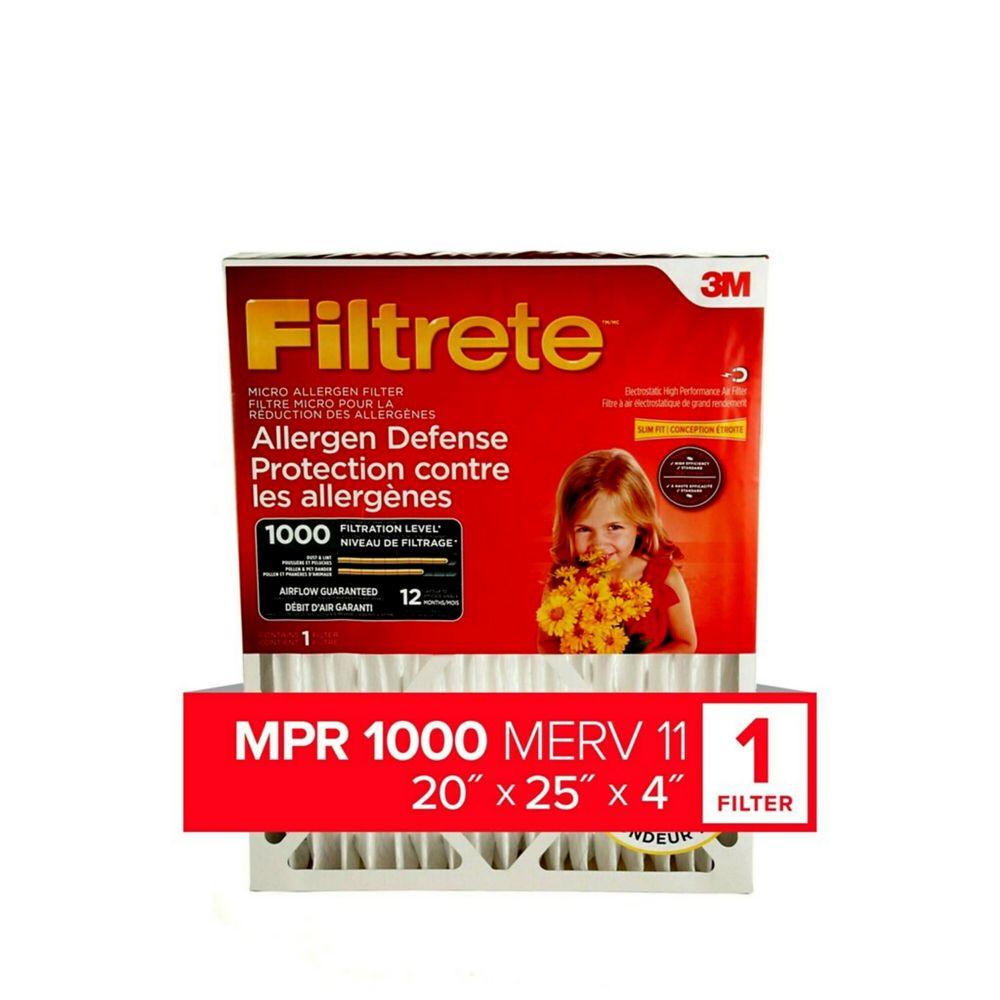 Protection contre les allergènes micro 1000 MPR, 20x25x4,  (DP01DC-4-C) 4/paquet