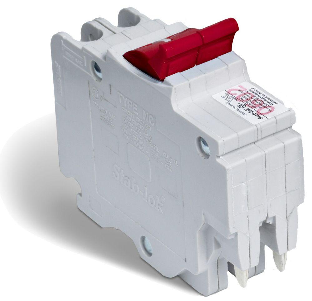 Double Pole 20 Amp Stab-lok (NC) Plug-On Circuit Breaker