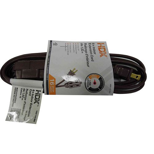 HDX 6 ft. Indoor Extension Cord in Brown
