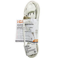 12 ft. Indoor Extension Cord for Tight Spaces in White