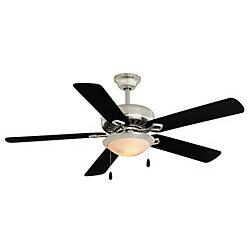 Hampton Bay Ventilateur de plafond Southwind, nickel, 52po, 5pales, dispositif d'éclairage, télécommande