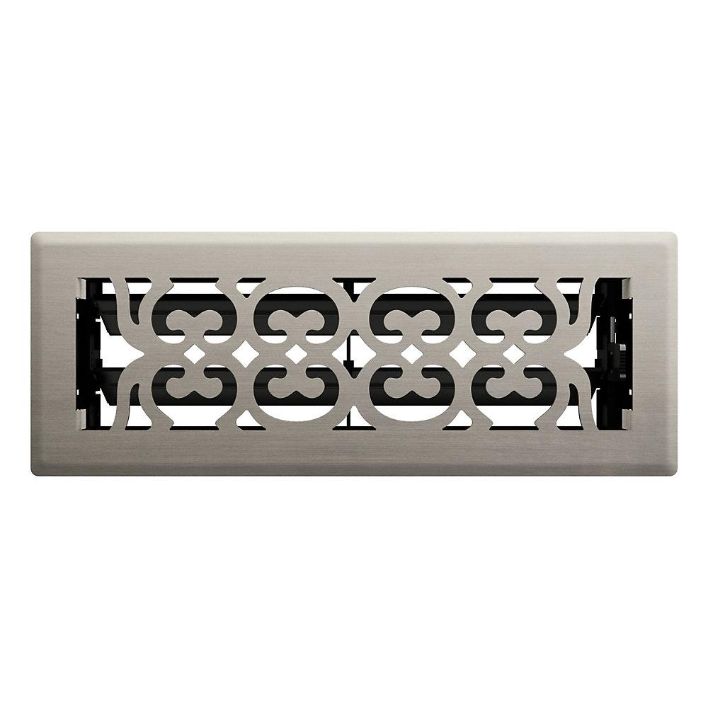 3po x 10po Registre de plancher à motif victorien nickel satiné