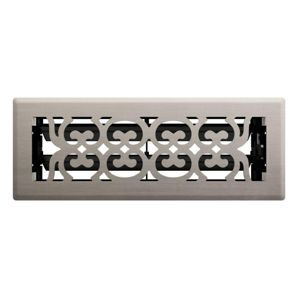 Hampton Bay 3 Inch x 10 inch Satin Nickel Victorian Floor Register