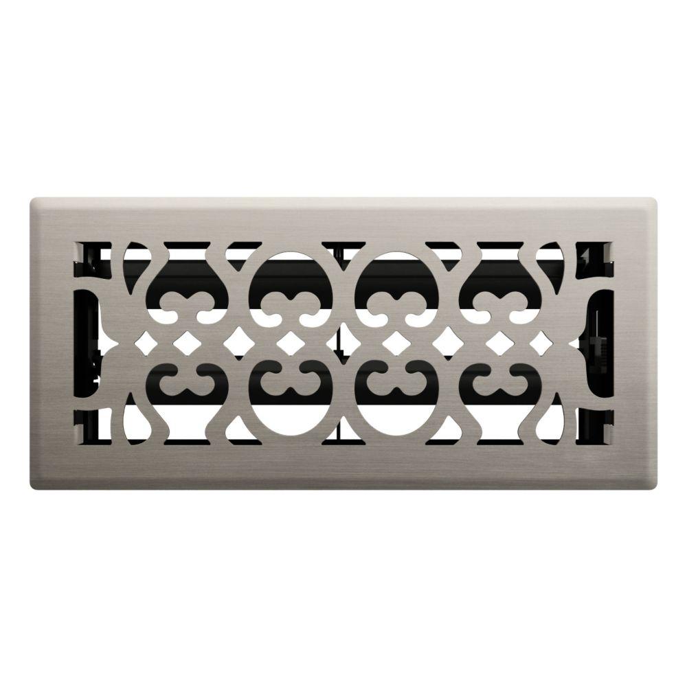 4po x 10po Registre de plancher à motif victorien nickel satiné