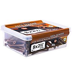 #8 x 2-1/2-inch Square Drive Flat Head Deck Screw UNC in Brown - 100pcs