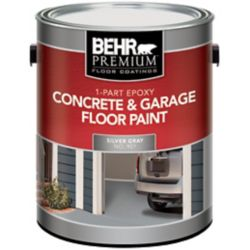 BEHR 1-Part Epoxy Concrete & Garage Floor Paint - Silver Gray, 3.79L