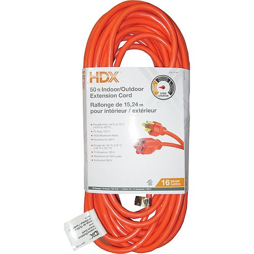HDX 50 ft. Indoor/Outdoor Extension Cord