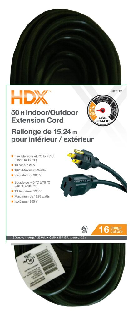 Extension Cord SJTW 16/3 50Feet