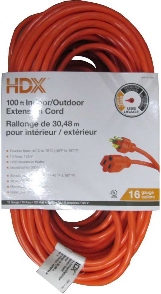100 Feet Indoor/Outdoor Extension Cord
