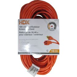 HDX 100 ft. Indoor/Outdoor Extension Cord in Orange