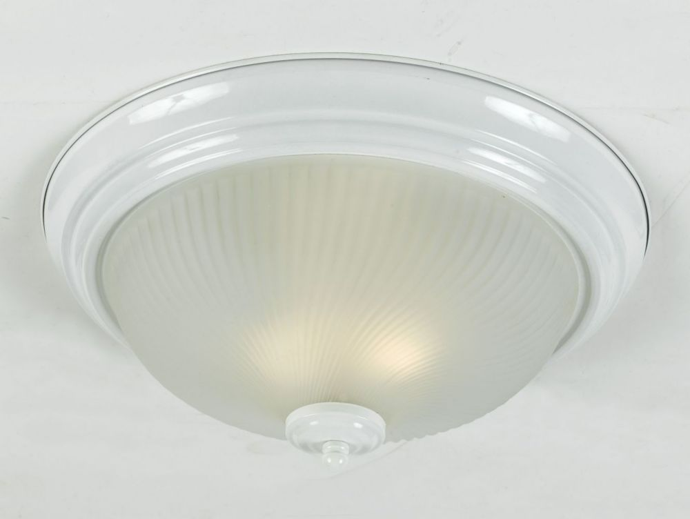 13 In Shiny White, 2 Light Flushmount