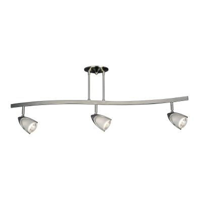 Hampton Bay 3-Light Halogen Curved Track Light in Pewter with Frosted Glass Shades