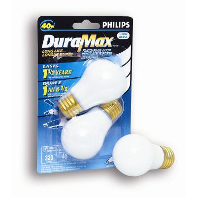 40 Watts  Fan/Garage Door A15 White Medium Base Bulb 2 PK