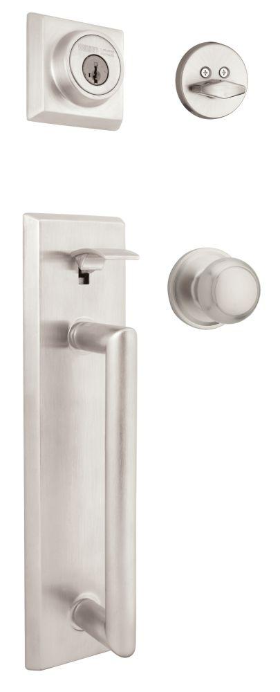 Serrure dentrée colonnade et bouton intérieur troy, avec la technologie de SmartKey � fini chrome...