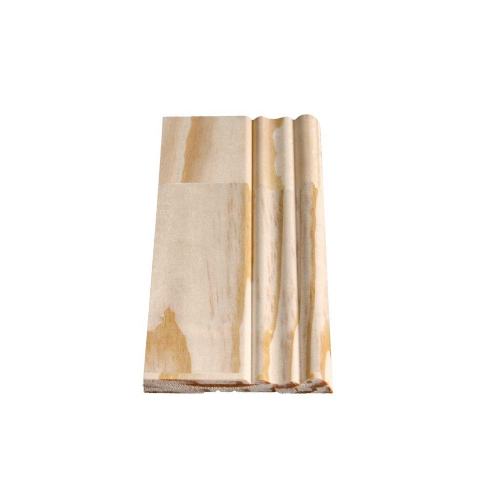 Plinthe coloniale jointée, pin 5/16 X 3 1/8 (Prix par pied)