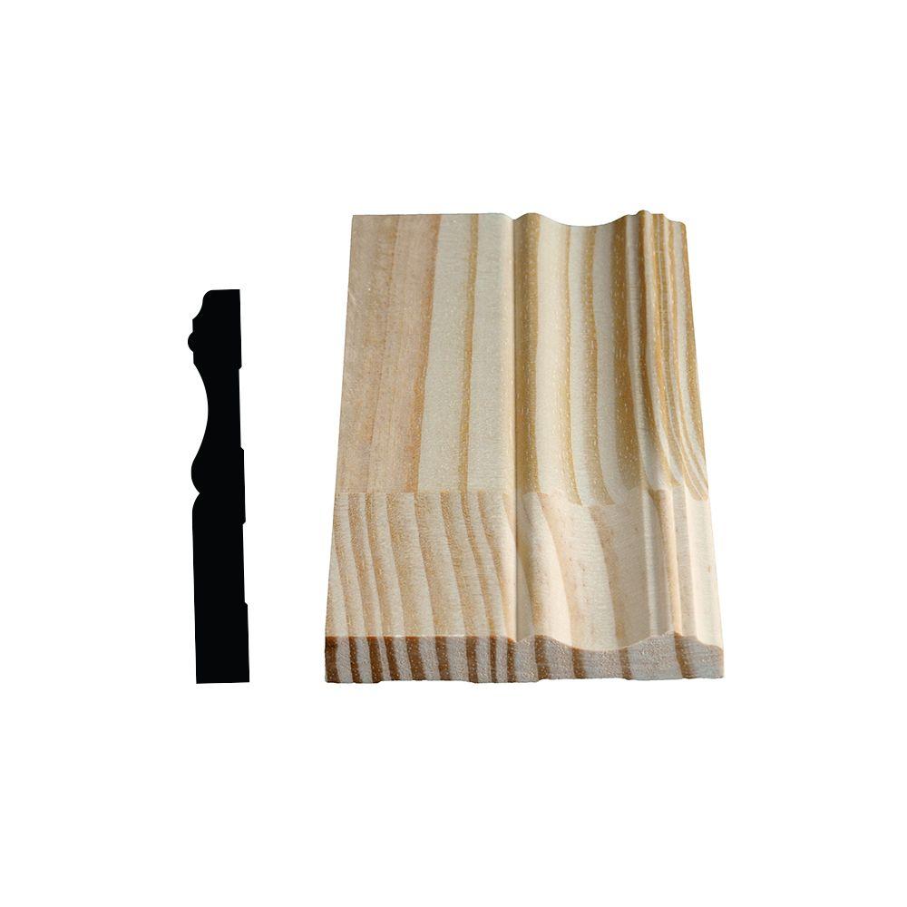 Plinthe coloniale jointée, pin 9/16 X 4 1/8 (Prix par pied)