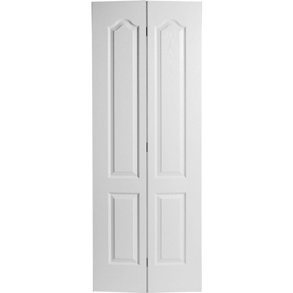 Porte pliante texturée 2 panneaux Haut arqué 30 po x 80 po