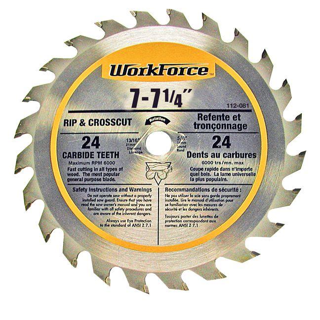 7 - 7 1/4 -inch Carbide Saw Blade - 24 Teeth