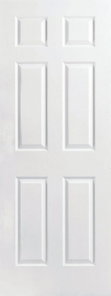 Porte intérieure 6 panneaux texturés apprêtés 26po x 80po