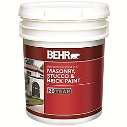 BEHR 18.9 L White Flat Latex Masonry, Stucco and Brick Interior/Exterior Paint