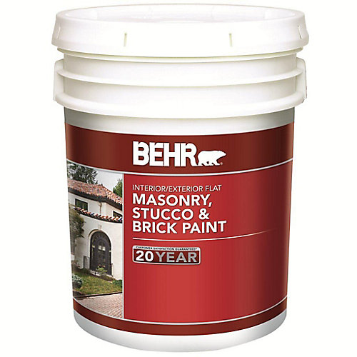 18.9 L White Flat Latex Masonry, Stucco and Brick Interior/Exterior Paint