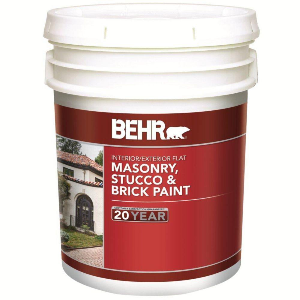 Interior/Exterior Masonry, Stucco & Brick Paint, Flat  - 18.63L