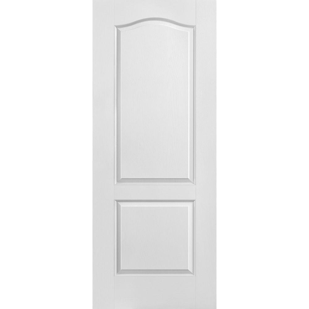 Porte unie texturée 2 panneaux - Haut arqué 32 po x 80 po