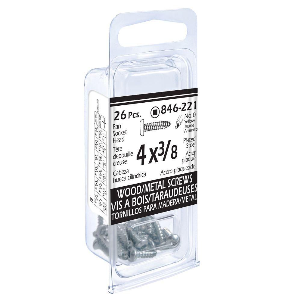 4x3/8 Pon Soc Wd/Mtl 26Pc Screw