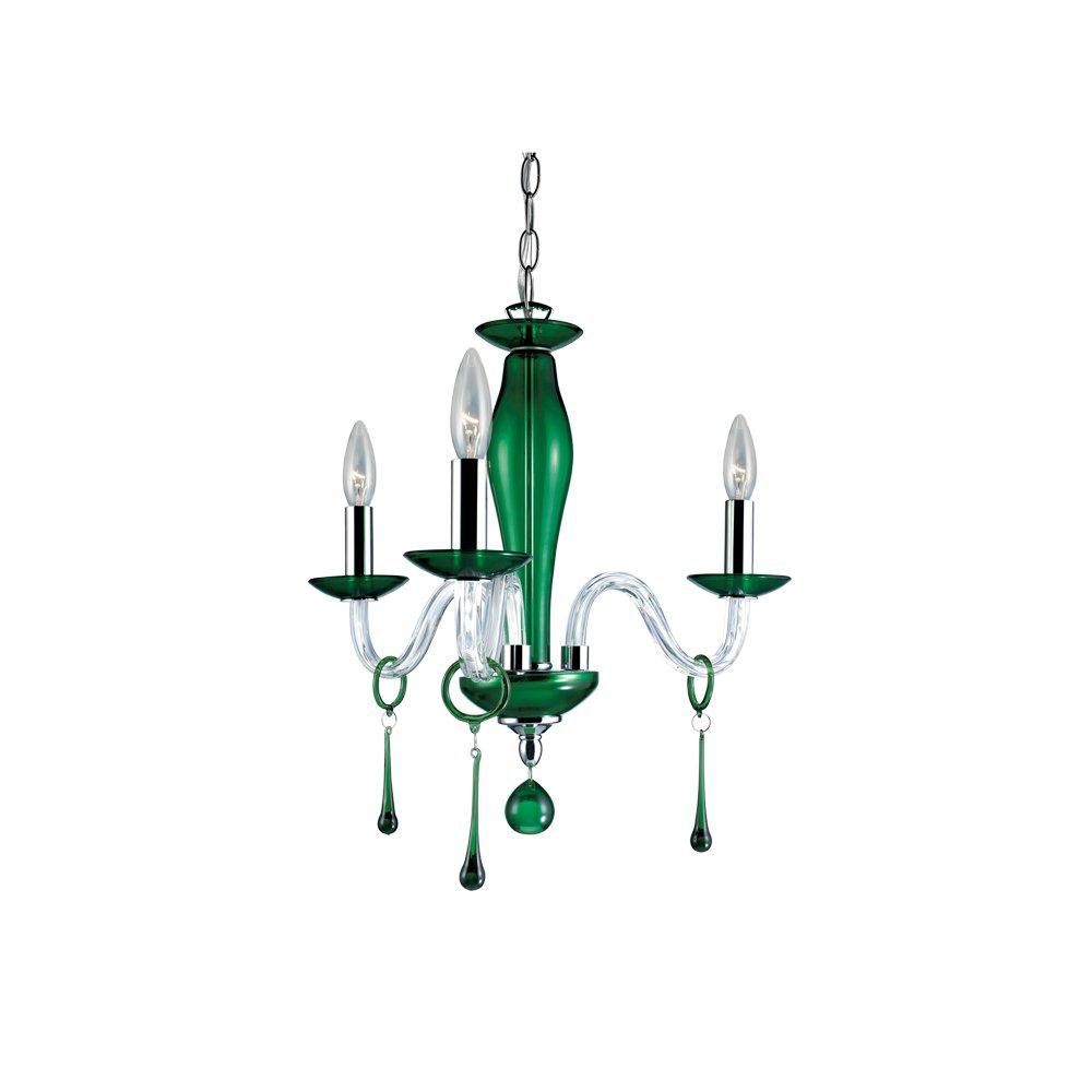 Rottura Collection 3 Light Green Chandelier