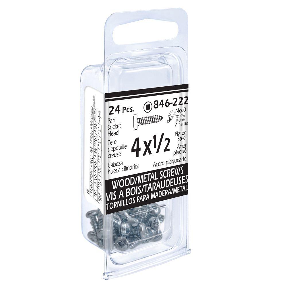 4x1/2 Pon Soc Wd/Mtl 24Pc Screw