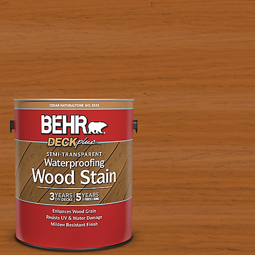 Semi-Transparent Deck, Fence & Siding Wood Stain - Cedar Naturaltone, 3.79L