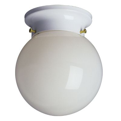 Flush Mount Fixture With 6 In. White Opal Glass