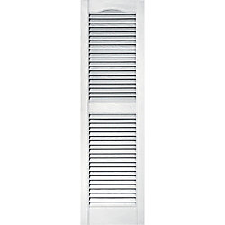 Builders Edge 15-inch x 39-inch Louvered Shutter in White