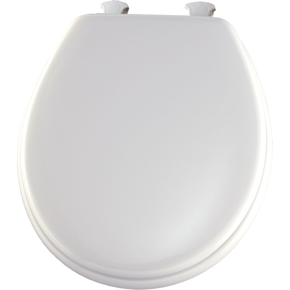 Round Wood Toilet Seat with Easy Clean & Change Hinge� in White
