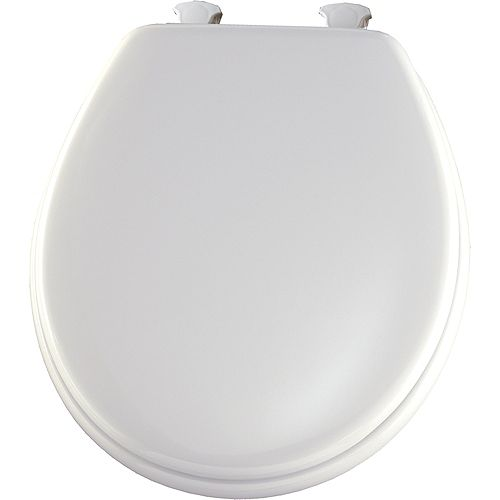Bemis Round Wood Toilet Seat with Easy Clean & Change Hinge in White