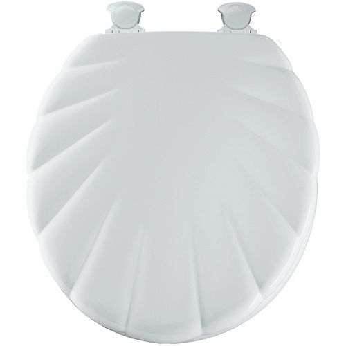 Bemis Round Wood Shell Toilet Seat with Easy Clean & Change Hinge in White