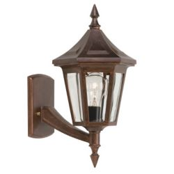 Snoc Elegant, Uplight Wall Mount, Clear Glass Panels with Beveled Edges, Antique Copper