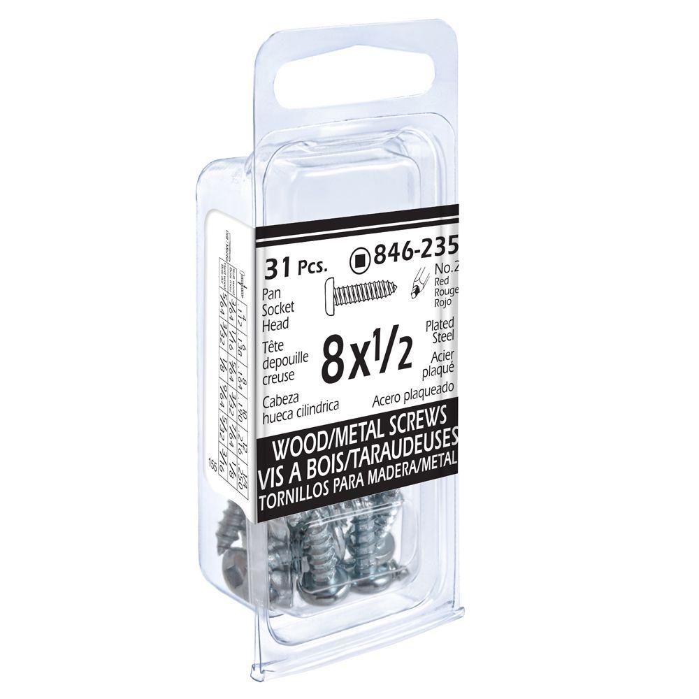 8x1/2 Pon Soc Wd/Mtl 20Pc Screw