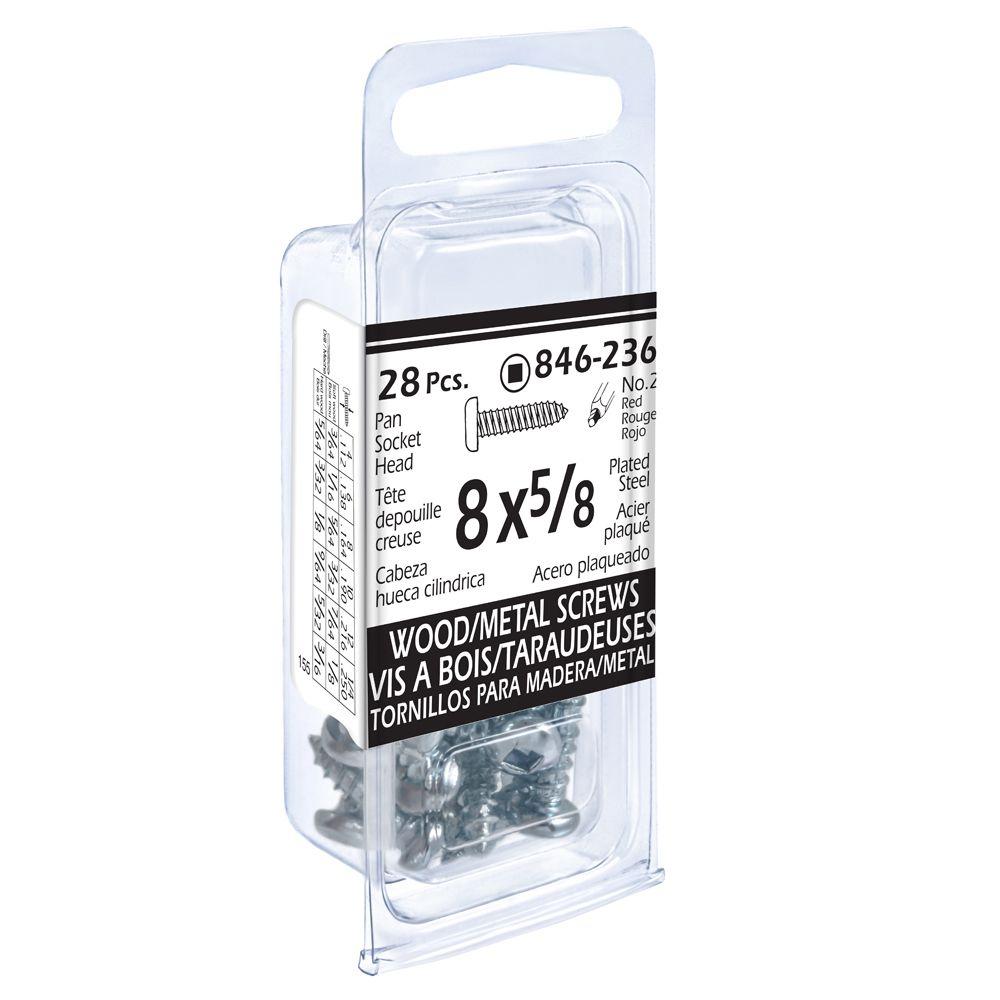 8x5/8 Pon Soc Wd/Mtl 17Pc Screw