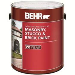BEHR Peinture pour Maçonnerie, Stuc & Brique Fini Mat, Intérieur/Extérieur  - 3,73L