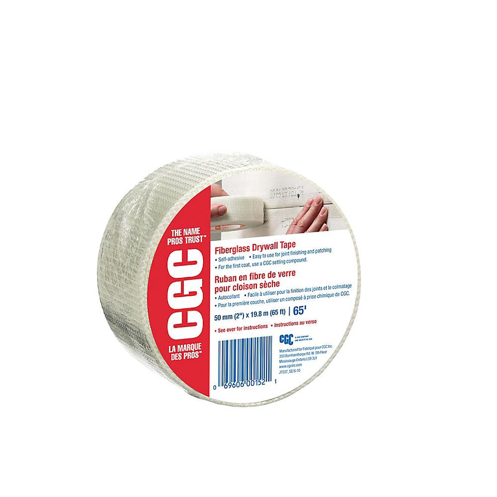 Ruban de cloison sèche en fibre de verre, rouleau de 2 po x 65 pi.