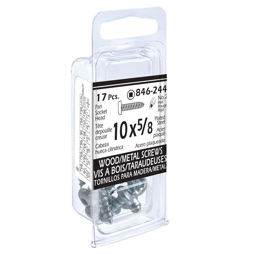 10x5/8 Pon Soc Wd/Mtl 17Pc Screw