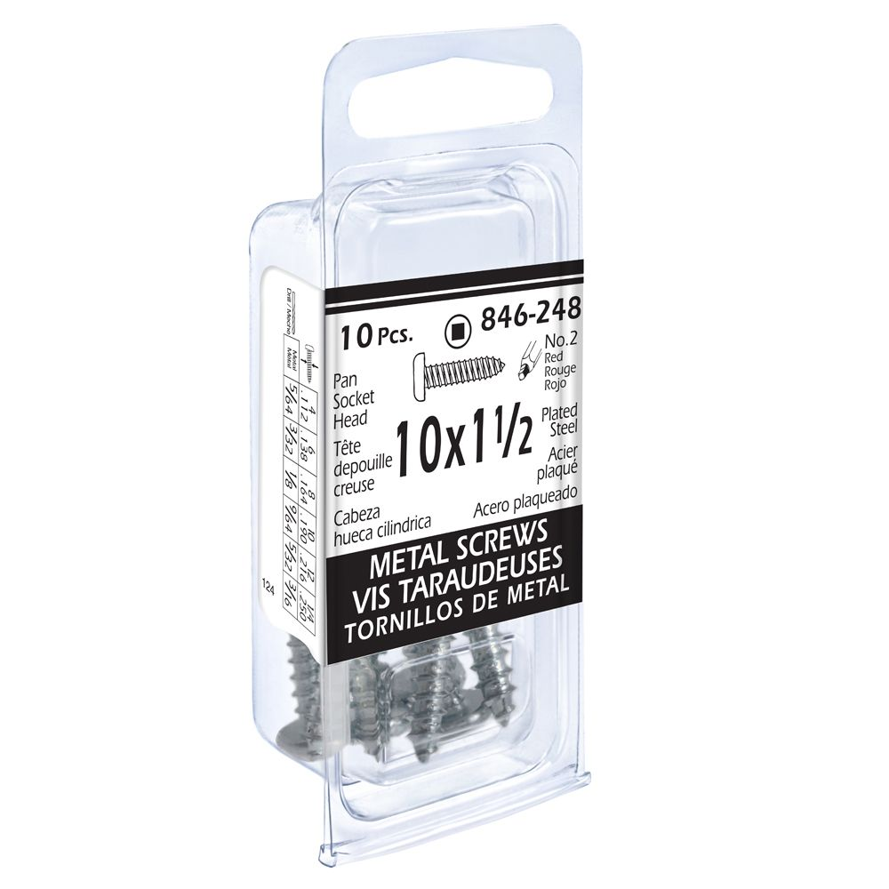 10x1-1/2 Vis Taraudeuses Depouille Creuse