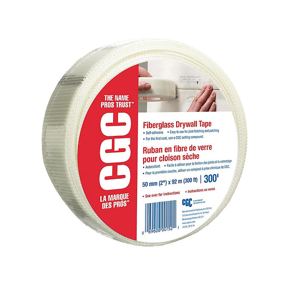 Ruban de cloison sèche en fibre de verre, rouleau de 2 po x 300 pi.
