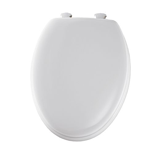 Bemis Elongated Closed Front Toilet Seat in White with Easy Clean and Change Hinge