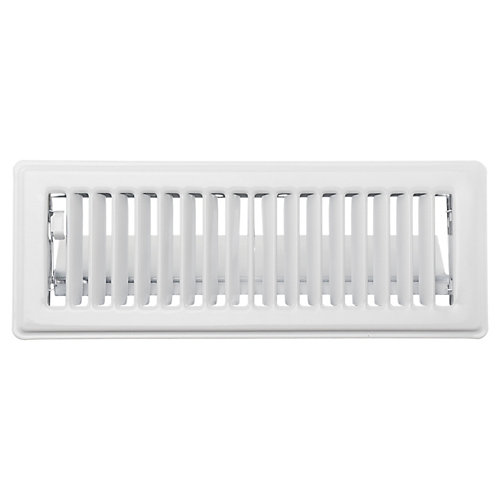3 inch x 10 inch Floor Register - White