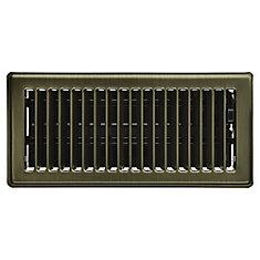4 inch x 10 inch Floor Register - Vintage Brass